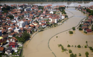 An aerial view of the flooded city of Brcko, May 18, 2014