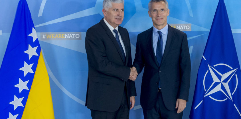 The Chairman of the Presidency of Bosnia and Herzegovina, Dragan Covic visits NATO and meets with NATO Secretary General Jens Stoltenberg